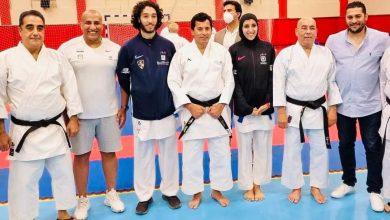 صورة أبطال منتخب الكاراتية يهدون نتائجهم بالدوري العالمي إلى وزير الشباب والرياضة
