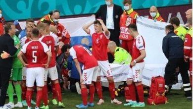 صورة تأجيل مباراة الدنمارك وفنلندا بسبب إصابة إريكسن