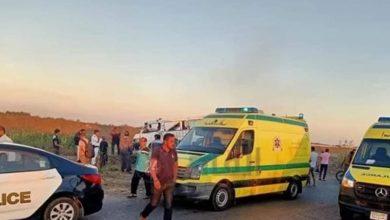 صورة فاجعة إصابة 8 أشخاص في انقلاب ميكروباص على طريق طنطا الدولي.