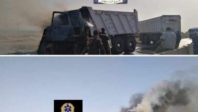 صورة حادث مروع علي طريق السويس أدى اشتعال النيران بسيارتين