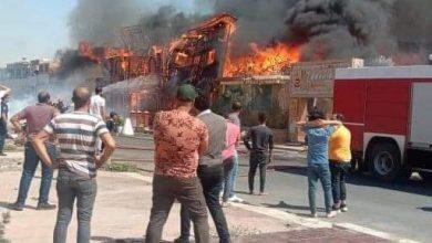 صورة حريق هائل بأحد كافيتريات كورنيش السويس